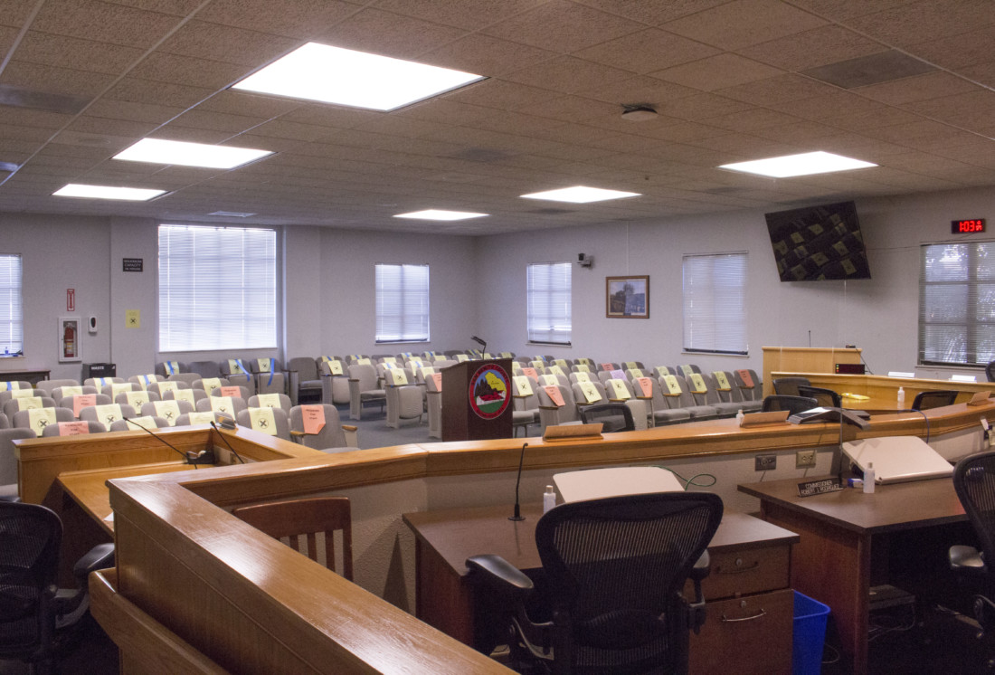 Empty Supervisors chamber closed to the public in February 2021. The county allowed in-person attendance later in the year. File photo by Noe Magaña.