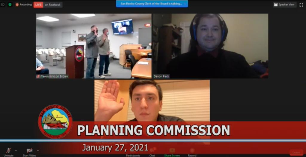 Screenshot from Jan. 27 SBC Planning Commission meeting.