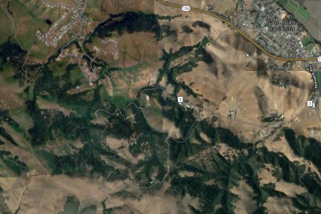 Salinas-San Juan Grade Road runs through the Monterey-San Benito county line. Imagery c2021 AMBAG, Maxar Technologies, USDA Farm Service Agency Map data.