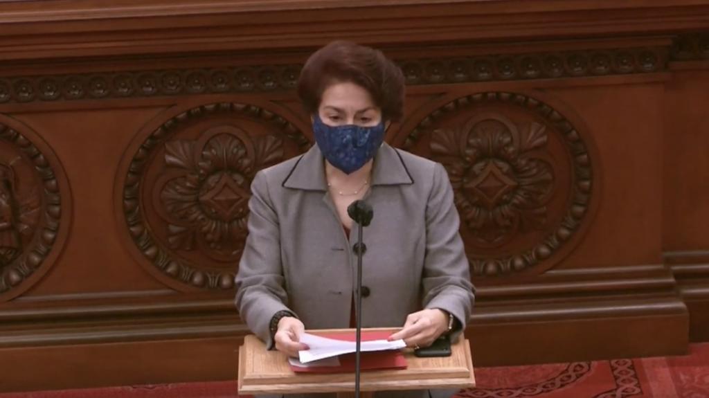 "State Senator Anna Caballero speaks in memory of Joseph ""Mr. O"" Ostenson. Screenshot of Feb. 22 session of the California Legislature."
