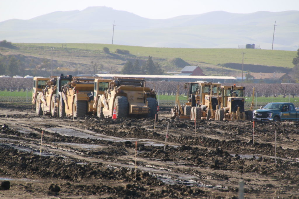 Earthmovers out at a large plot of land south of Flynn Road along San Felipe Road in Hollister. The land is the future site of a package delivery facility. Photo by John Chadwell.
