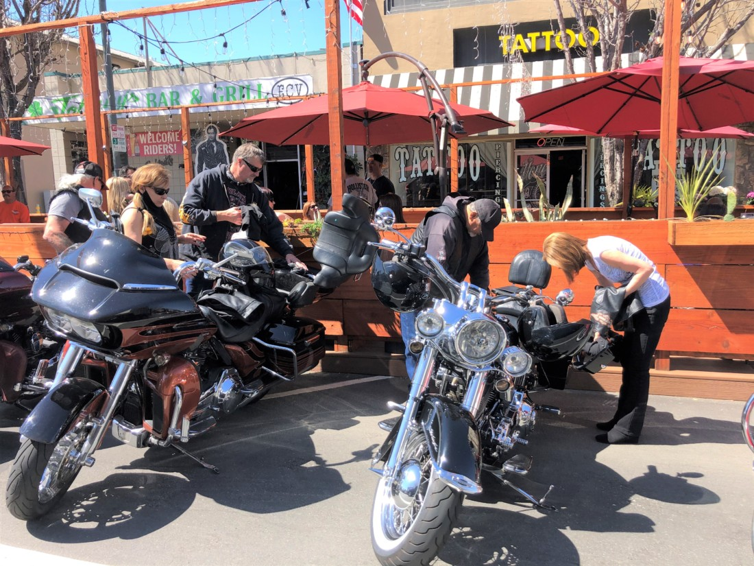 Visiting bikers stopped by local restaurants in downtown Hollister after the Bike Blessing. Photo by Diane Chadwell.