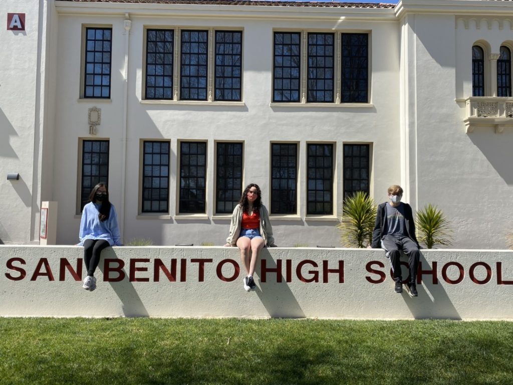 San Benito High School seniors Cathy Nguyen, Kiani McKeon and Eddie Schmidt. Photo by Olivia Madera.
