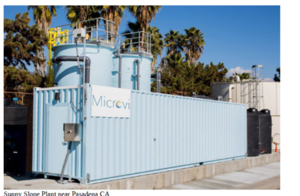 The Microvi plant at Sunny Slope Water Company in Pasadena, California similar to that intended for San Juan Bautista. Photo courtesy of Don Reynolds.