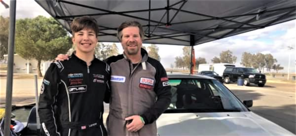 Ethan and Bryan Lampe. The father and son are a team on and off the race track. Photo courtesy of Bryan Lampe.