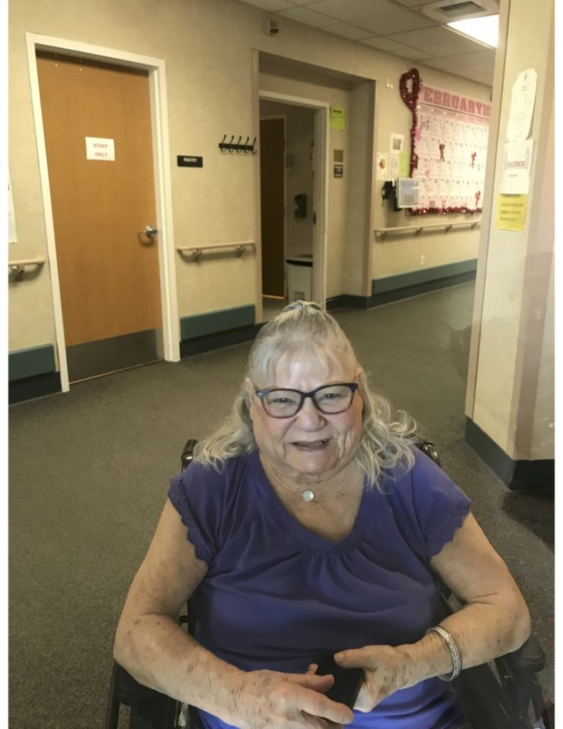 """Dorothy """"Dot"""" Lemos one year into the lockdown at Mabie skilled nursing facility. Photo provided by Gae Miguel."""