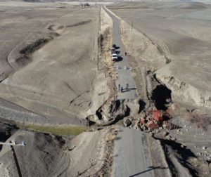 New Idria Road washout. Photo courtesy of Matt Kelley of Kelley Engineering & Surveying.