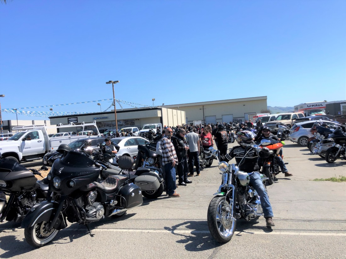 Hollister Powersports, where bikers registered for the blessing and got their commemorative coin. Photo by John Chadwell.