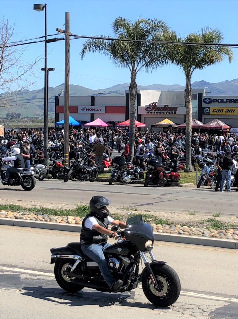 Motorcycles cruised up and down San Felipe Road before and after the Bike Blessing. Photo by John Chadwell.