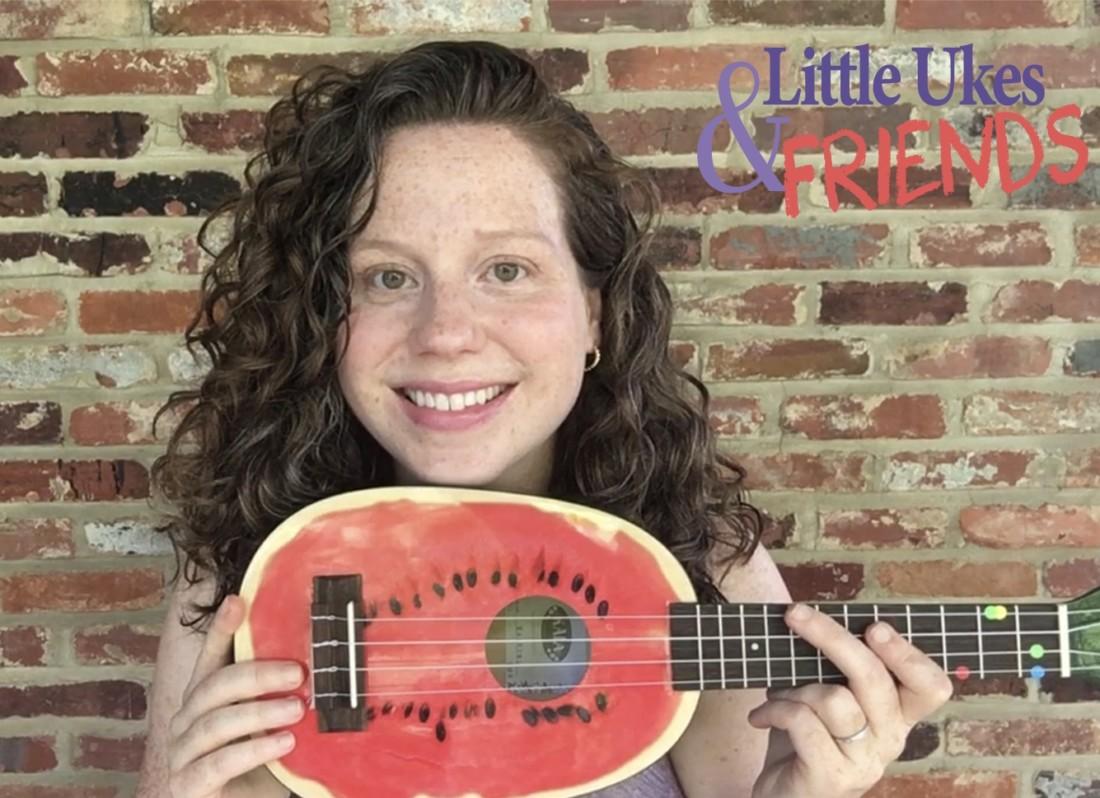 Teacher Jessica Sammis displays her watermelon-patterned ukulele. Photo courtesy of Tiffany Richardson.