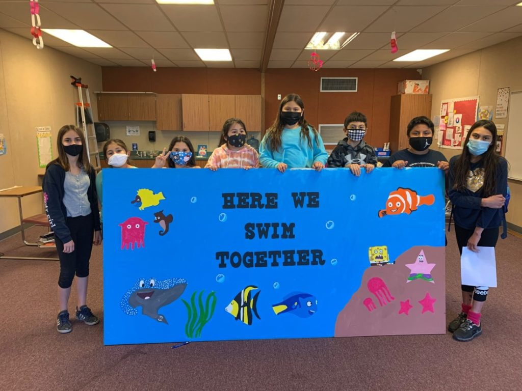 Local students enrolled in YMCA's Excel Beyond the Bell program participated a kindness campaign—spreading positive messages around Sunnyslope School. Photo courtesy of YMCA of San Benito County.