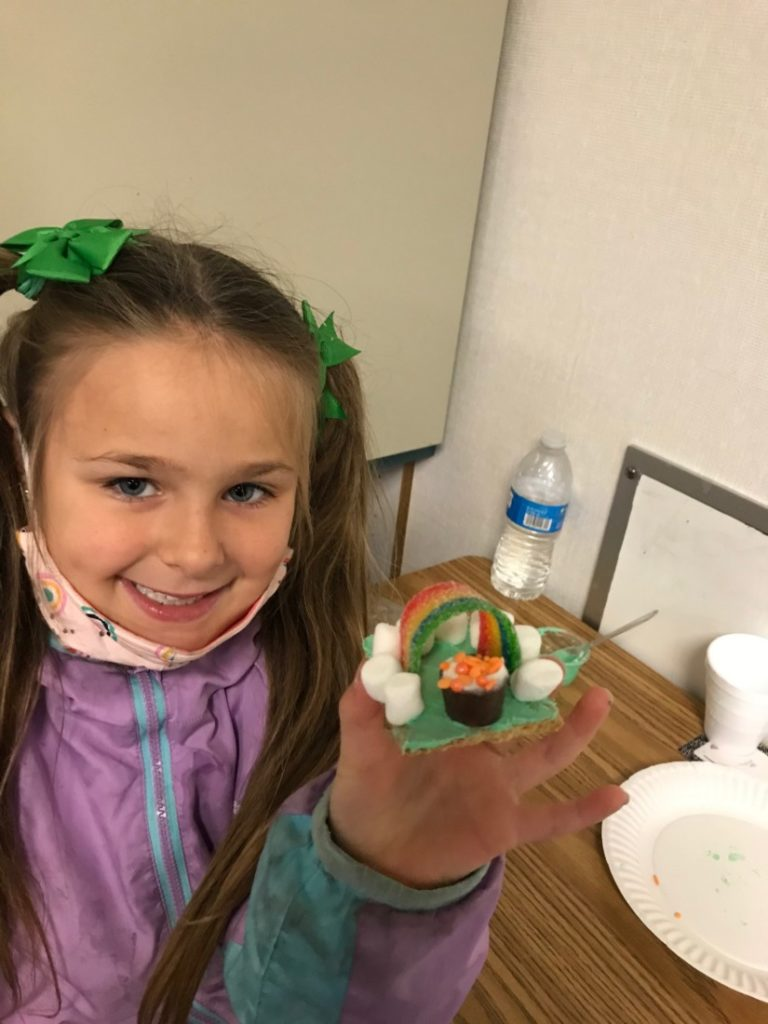 First graders in Excel Beyond the Bell participated in a rainbow activity to celebrate St. Patrick's Day. Photo courtesy of YMCA of San Benito County.