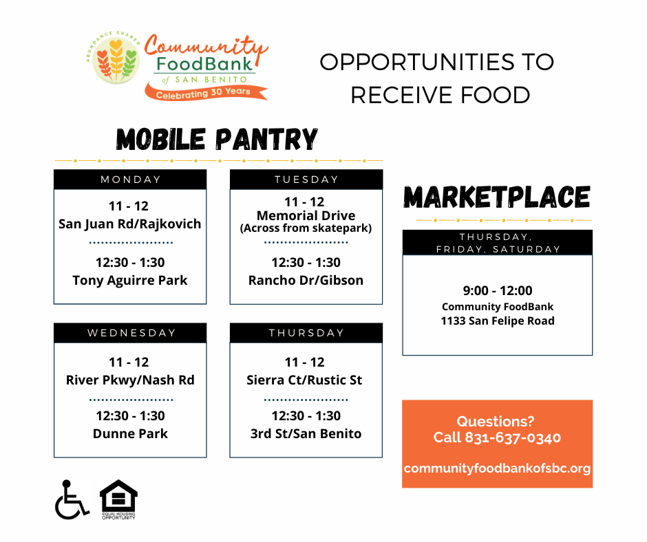 In English: Mobile Pantry locations and Food Bank schedule. Photo courtesy of Sarah Nordwick.