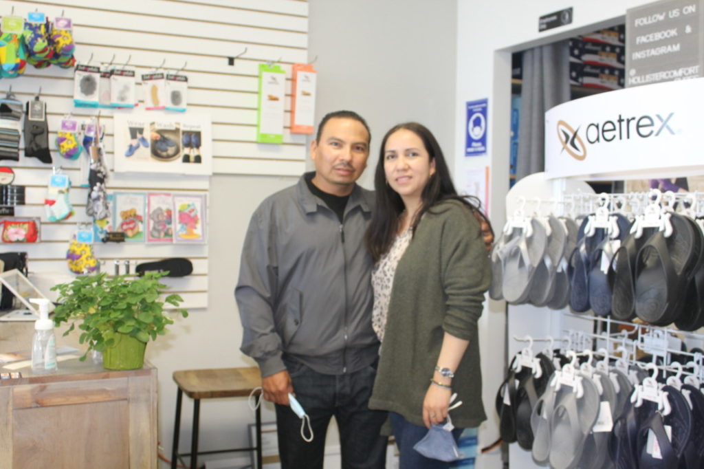 Hollister Comfort Shoes owners, Enrique and Ecliseria Martinez, are finding their feet at their new location at 1760 Airline Highway. Photo by Jenny Mendolla Arbizu