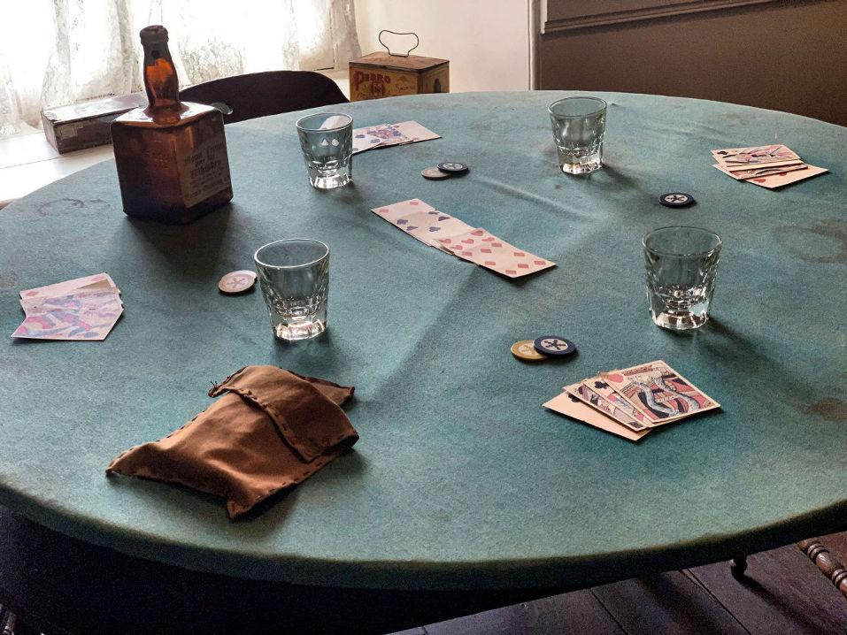 Poker Table at the Plaza Saloon. Photo by Robert Eliason.