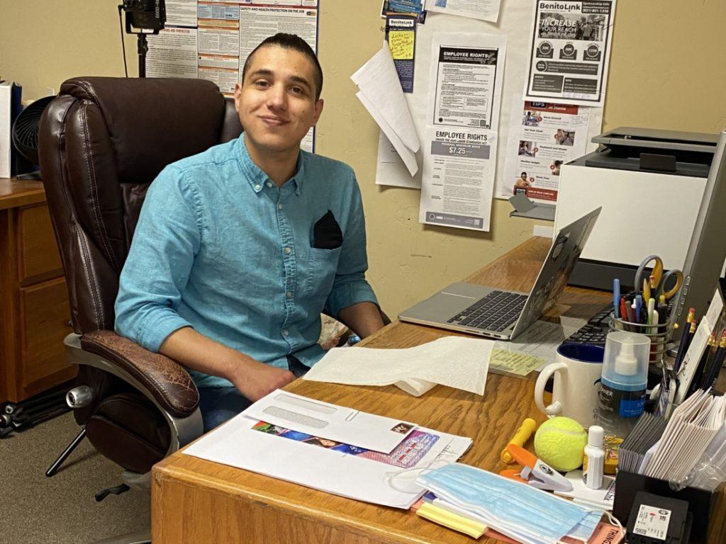 Nicholas Preciado in the BenitoLink office. Photo by Leslie David