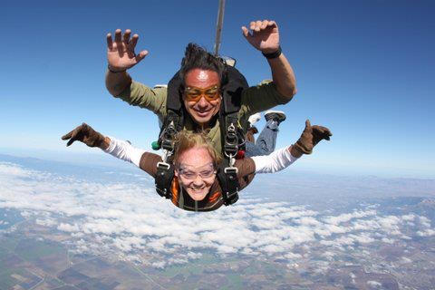 Kay Harmon sky dives over Marina on her 80th birthday. She is planning to do so again on her 90th in two and a half years. Photo courtesy of Kay Harmon.