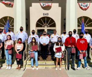 Members of Hollister VFW Post 9242 presented scholarships to ten SBHS graduates on May 21. Photo courtesy of Bernie Ramirez.
