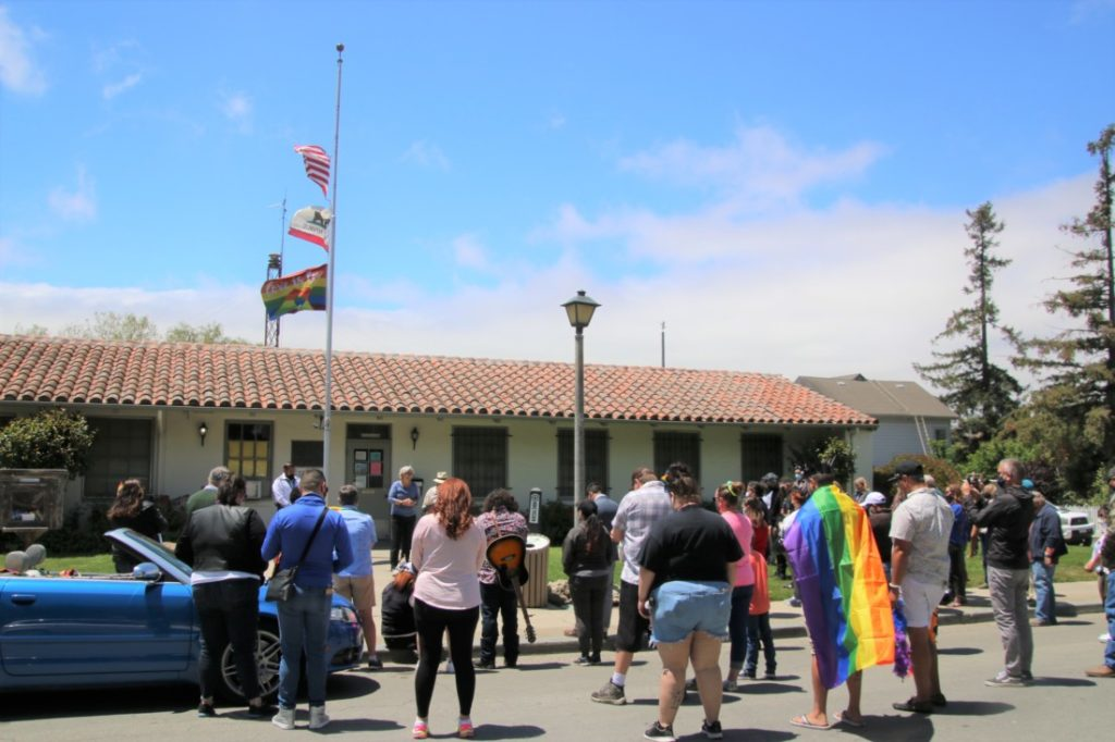 San Juan Bautista City Manager Don Reynolds said the city may have to put up another flag pole next year during the May 29 ceremony. Photo by John Chadwell.