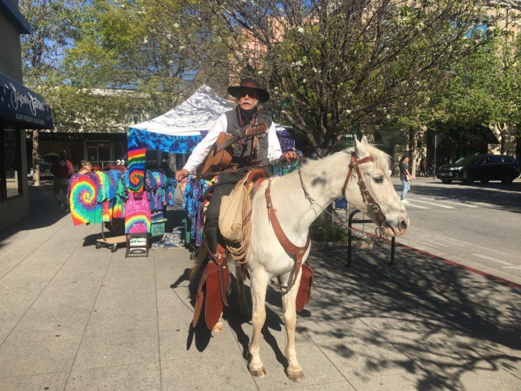 Jim Aceves and Silverado on Pacific Avenue in Santa Cruz on April 18, 2021. Photo by Andrew Pearson.
