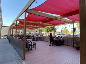 The Running Rooster's new permanent patio. Photo by Jenny Mendolla Arbizu.