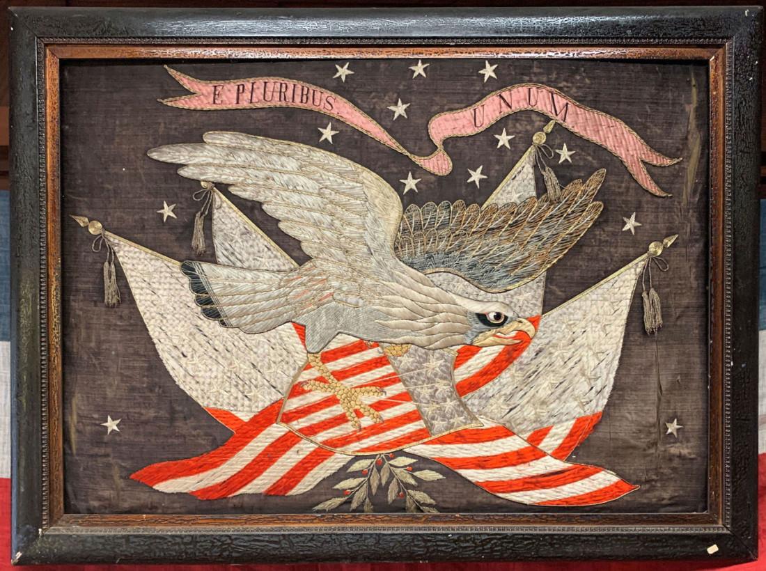 Silk embroidered flag. Photo by Robert Eliason.