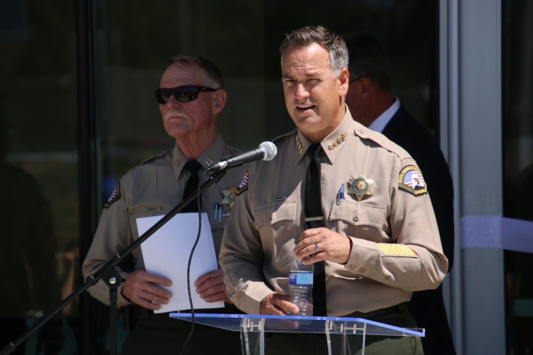 Sheriff Darren Thompson officiated the ceremony and introduced former Sheriff Curtis Hill. Photo by John Chadwell.