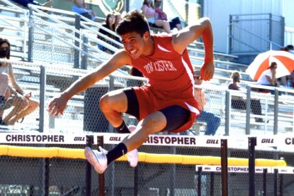 Ramon Duran running the 110m hurdles during his track meet at Christopher High School. Photo curtesy of Julia Hicks.