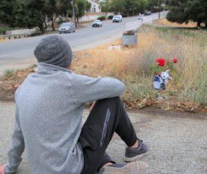 Tayler Schmitt sits where his fiancee Sarah Villar died on June 20. Photo by John Chadwell.