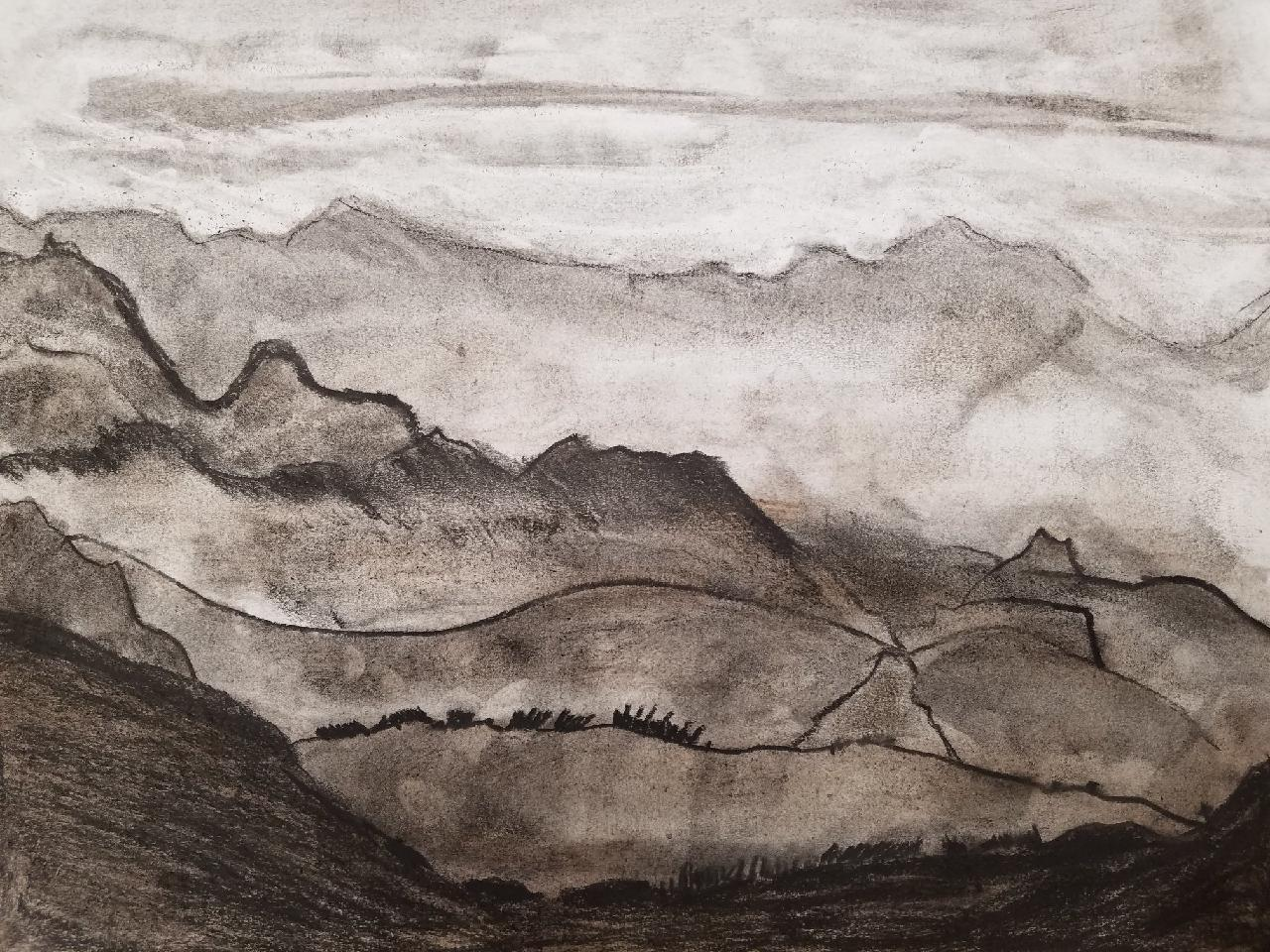 Charcoal Landscape created by Gabe at Juvenile Hall. Photo courtesy of Heidi Jumper.