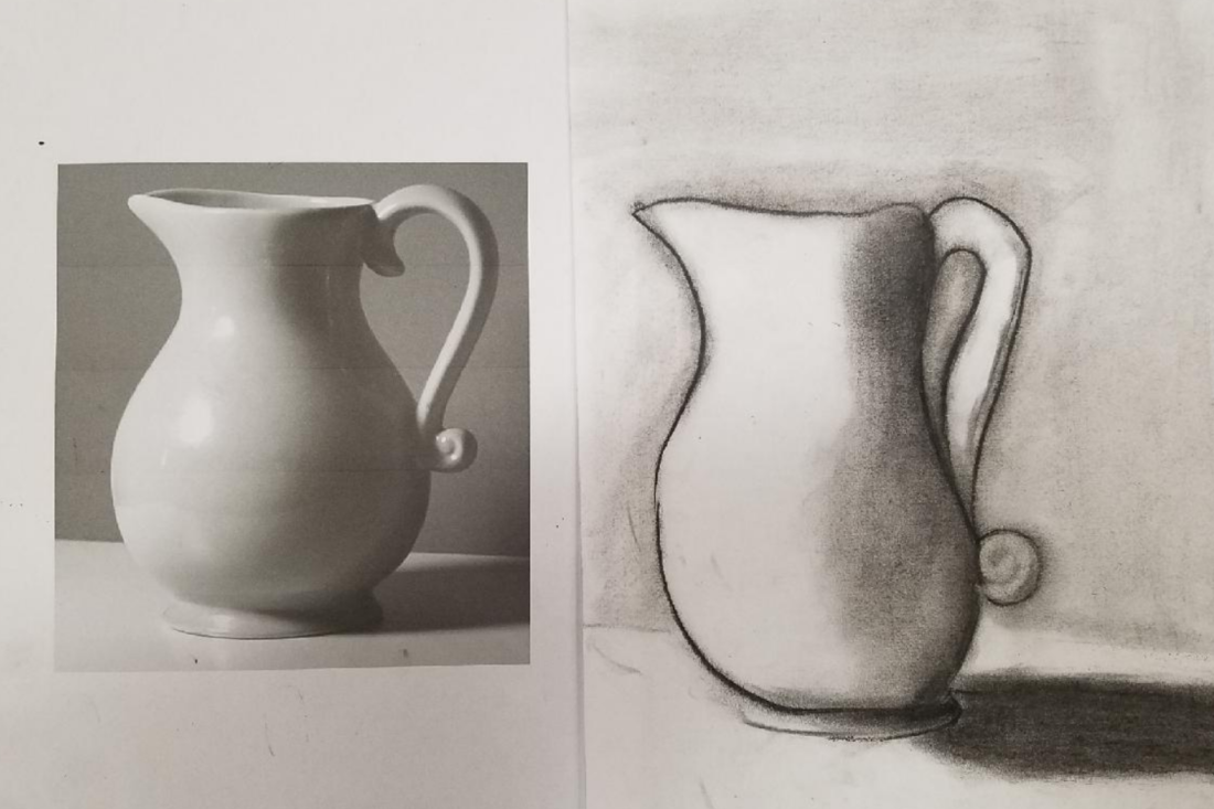Charcoal Still Life created by Mikey at Juvenile Hall. Photo courtesy of Heidi Jumper.