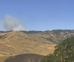 CalFire units are on scene of a vegetation fire burning off Panoche Road in San Benito County. Photo courtesy of PG&E.