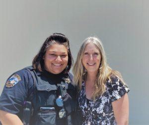 Hollister Police Officer Esqueda and Behavioral Health Management Services Manager Nancy Abellera. Photo courtesy of HPD.