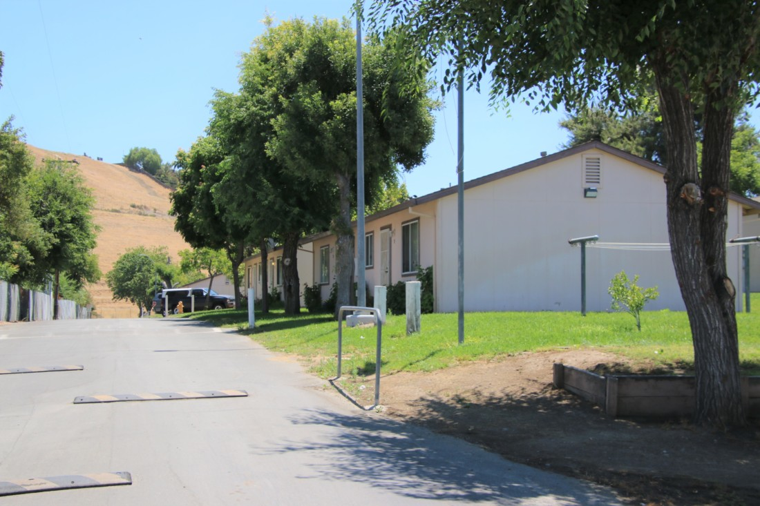 Approximately 33 duplexes provide temporary homes during the harvest season for migrant families. Photo by John Chadwell.