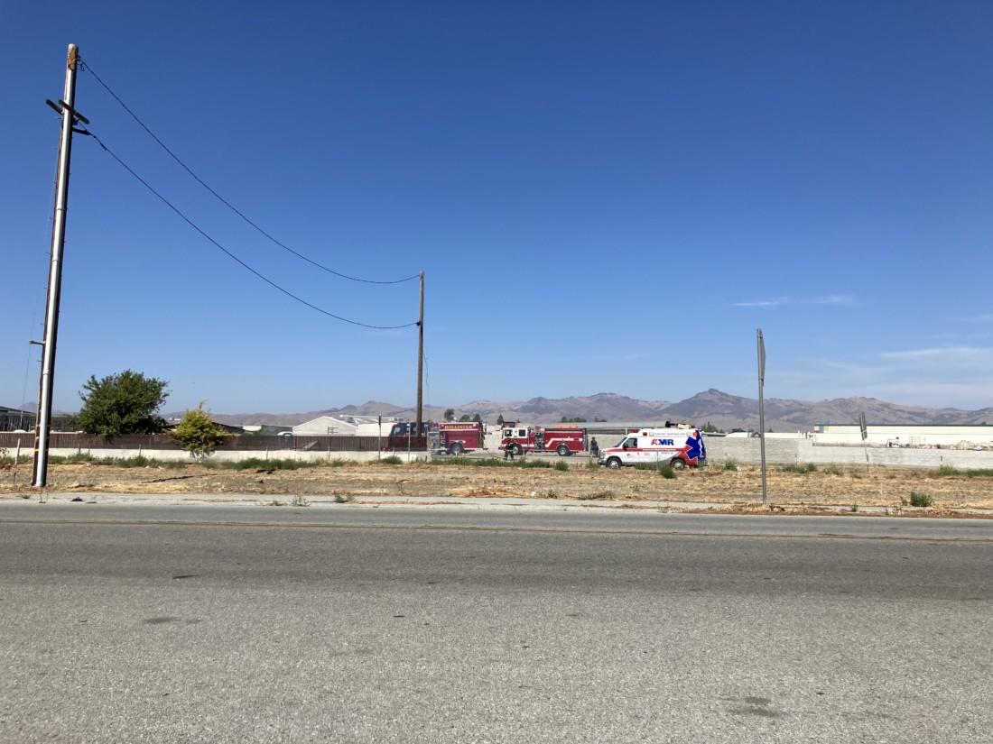 Hollister Fire Department responding to a fire at the former Bulldog Boxing Gym site. Photo by Noe Magaña.