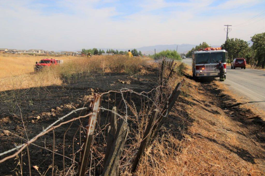 Hollister Fire Department responding to the Fairview Road fire. Photo by John Chadwell.