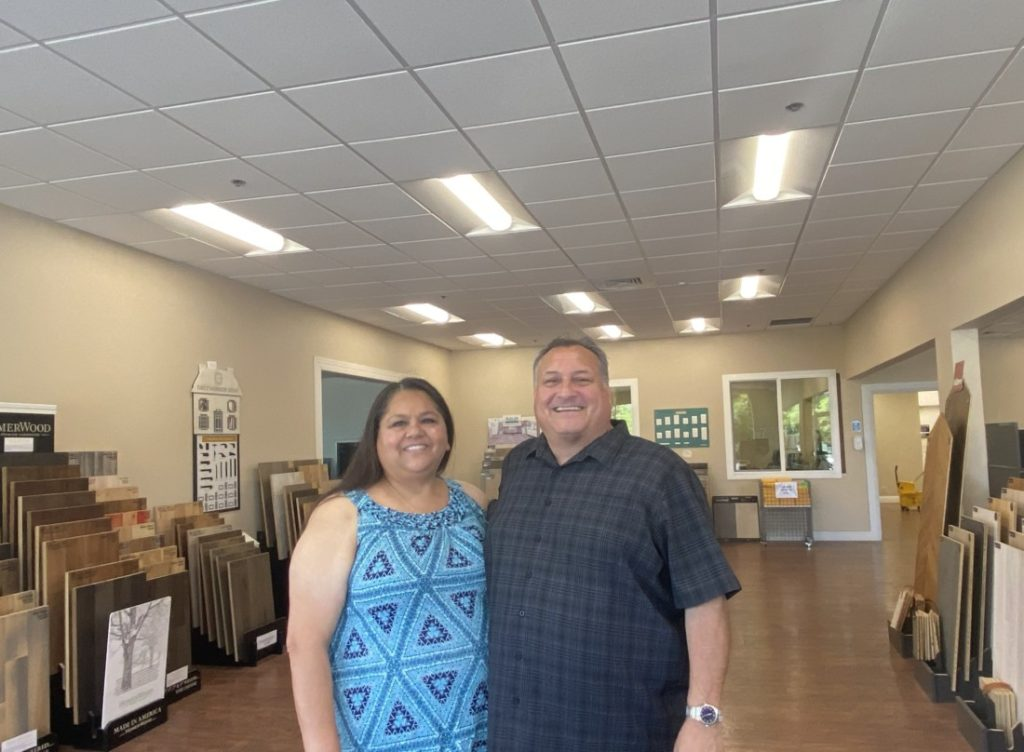 Judy and Dennis Davilla celebrate two years of running Hollister Floors and More. Photo by Jenny Mendolla Arbizu.