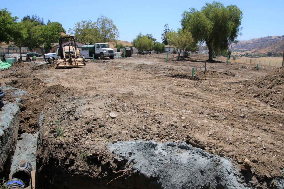 Infrastructure is now being built at the migrant center for five modular homes for homeless families. When funding is secured, 10 more homes will be brought to the area. Photo by John Chadwell.