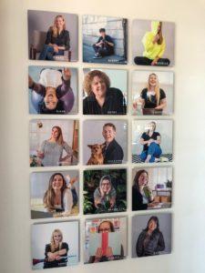 Staff photo wall. Photo courtesy of Waltz Creative.
