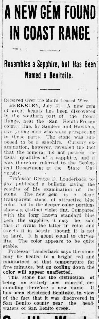 Annoucement of benitoite, Evening Mail, July 31, 1907.