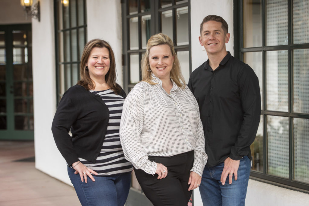 (Left to right) Director of Client Services Heidi Ash, Co-owner and managing partner Beth Welch and Creative Director Zack Shubkagel Rovella. Photo courtesy of Waltz Creative.