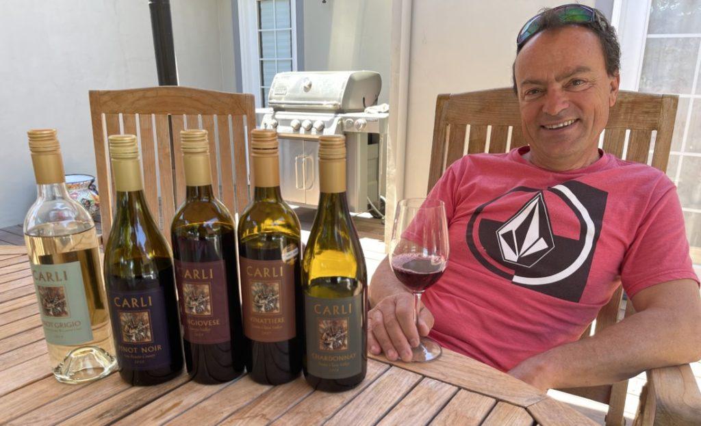 Alessio Carli and his wines. Photo by Robert Eliason