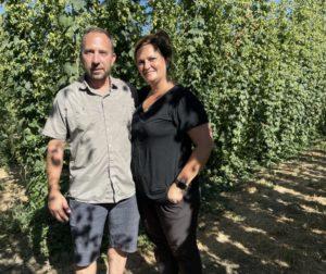 Erik and Aileen Ehn at Hollister Hop Yard. Photo by Robert Eliason.