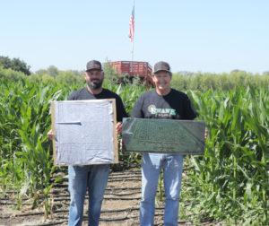 Joey Kistler with current maze, Dick Swank with 2000 maze. Photo by Robert Eliason.