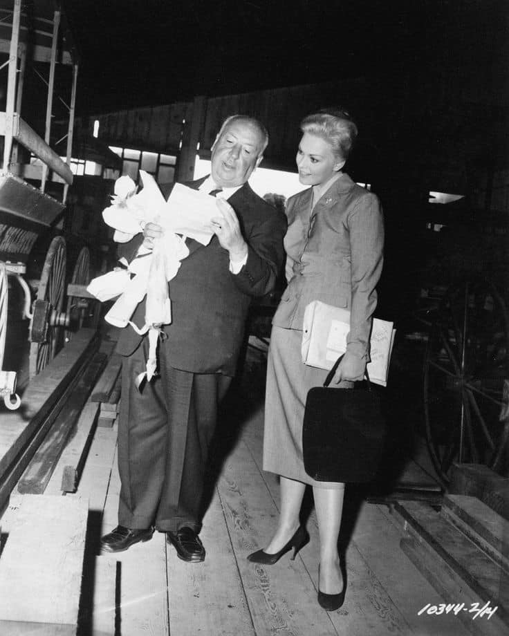 Alfred Hitchcock and Kim Novak in the Plaza Stables. Courtesy SJB State Park.