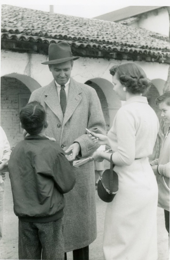 Jimmy Stewart during filming of
