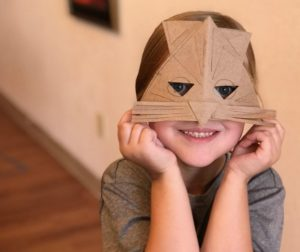 Cardboard mask created at an Arts Council community art class with teaching artist, Stephanie Skow. Photo courtesy of San Benito County Arts Council.