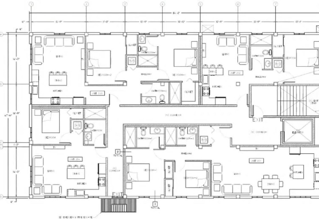 Floor plan for four apartments.