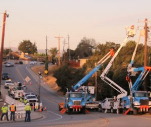 PG&E crews were still working along Sunnyslope Road the morning after the Sept. 27 crash disrupted power to over 800 homes. Photo by John Chadwell.