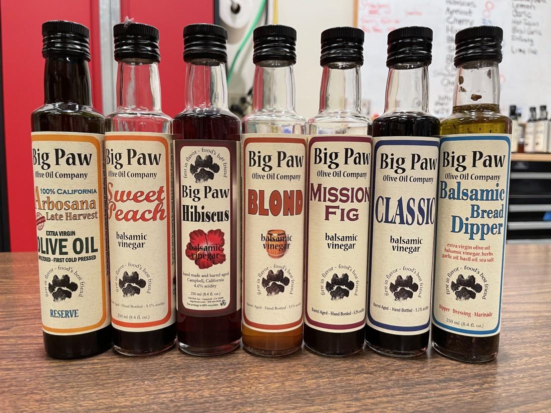 Vinegars by Big Paw Olive Oil Company. Photo by Robert Eliason.